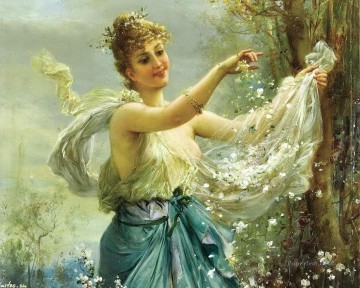 girl playing flowers Hans Zatzka Oil Paintings