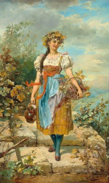 Hans Zatzka Painting - girl with grape basket Hans Zatzka