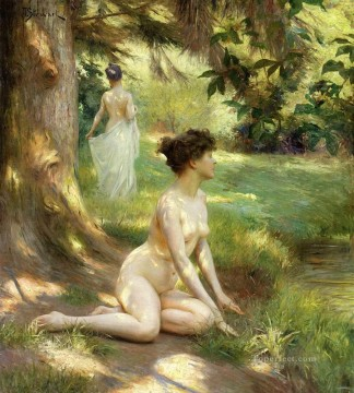 nude under tree Hans Zatzka Oil Paintings