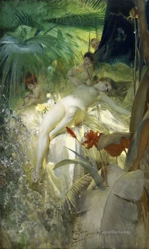 Hans Zatzka Painting - Cupid and nude Hans Zatzka