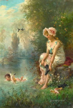 Hans Zatzka Painting - floral angel and girl Hans Zatzka