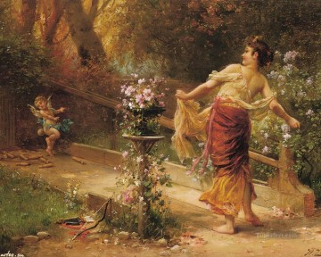 Hans Zatzka Painting - floral angel with girl Hans Zatzka