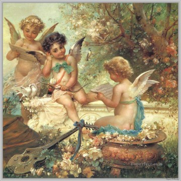 Hans Zatzka Painting - floral angels and guitar Hans Zatzka