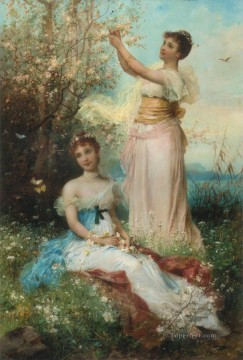 Hans Zatzka Painting - girl in flowers and butterflies Hans Zatzka