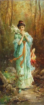 Hans Zatzka Painting - girl with flowers and birds Hans Zatzka