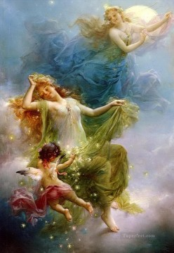 Hans Zatzka Painting - girls and angel In The Night Sky Hans Zatzka
