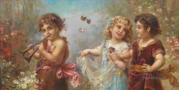 Hans Zatzka Painting - kids and butterflies in music Hans Zatzka