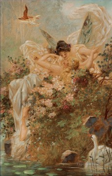 Hans Zatzka Painting - kissing angels and swan Hans Zatzka