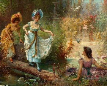 floral ladies and birds Hans Zatzka Oil Paintings