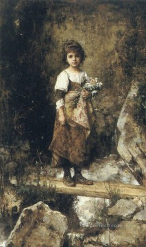A Peasant Girl On A Footbridge girl portrait Alexei Harlamov Oil Paintings