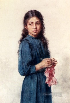 Alexei Harlamov Painting - A Young Girl Knitting girl portrait Alexei Harlamov