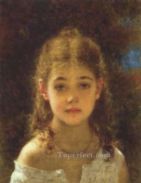 Alexejewitsch Mignon girl portrait Alexei Harlamov Oil Paintings