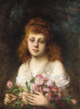 portrait - Auburn haired Beauty with Bouquet of Roses girl portrait Alexei Harlamov