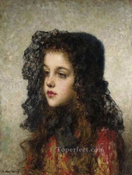 portrait - Little Girl with Veil girl portrait Alexei Harlamov