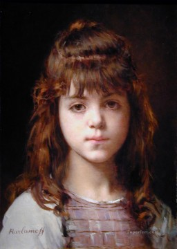 Mignon girl portrait Alexei Harlamov Oil Paintings