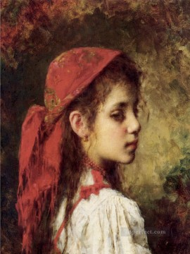 Red Art - Portrait of a Young Girl in A Red Kerchief girl portrait Alexei Harlamov