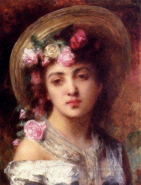 portrait - The Flower Girl girl portrait Alexei Harlamov