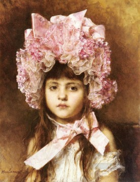 The Pink Bonnet girl portrait Alexei Harlamov Oil Paintings