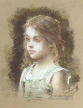 Young Girl in a Green Tunic girl portrait Alexei Harlamov Oil Paintings