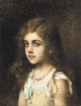 portrait - Young Girl with a Turquoise Bow girl portrait Alexei Harlamov
