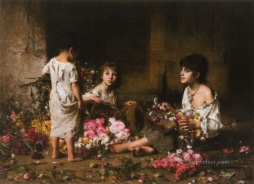 Alexei Harlamov Painting - The Flower Girls girl portrait Alexei Harlamov