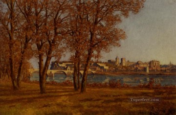 hat Oil Painting - Le Chateau Des Papes A Avignon Barbizon landscape Henri Joseph Harpignies