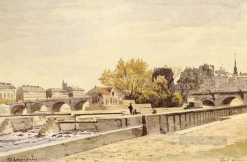 Paris Painting - Pont Neuf Paris Barbizon landscape Henri Joseph Harpignies