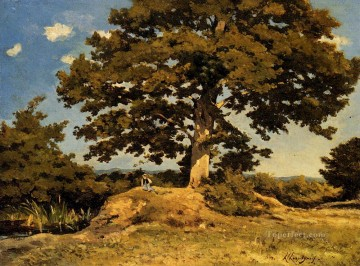 Tree Painting - The Big Tree Barbizon landscape Henri Joseph Harpignies