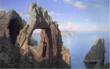 Natural Arch at Capri scenery Luminism William Stanley Haseltine Oil Paintings