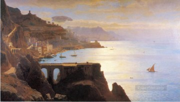 Coast Painting - Amalfi Coast scenery Luminism William Stanley Haseltine