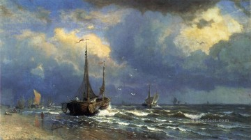 Coast Painting - Dutch Coast scenery Luminism William Stanley Haseltine