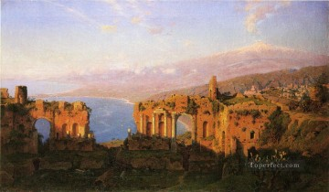 Ruins of the Roman Theatre at Taormina Sicily scenery Luminism William Stanley Haseltine Oil Paintings