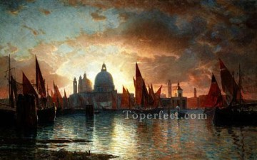 Sun Oil Painting - Santa Maria Della Salute Sunset scenery Luminism William Stanley Haseltine