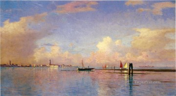 Sun Oil Painting - Sunset on the Grand Canal Venice scenery Luminism William Stanley Haseltine