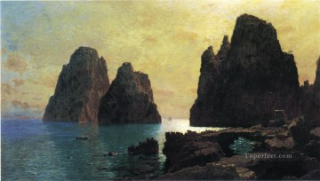 The Faraglioni Rocks scenery Luminism William Stanley Haseltine Oil Paintings