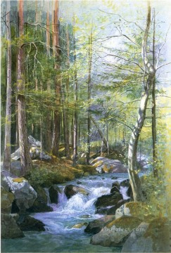 Torrent in Wood behind Mill Dam Vahrn near Brixen Tyrol scenery Luminism William Stanley Haseltine Oil Paintings
