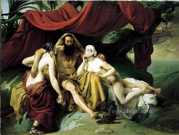 Lot and His Daughters Romanticism Francesco Hayez Oil Paintings