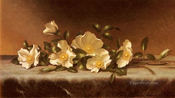 Cherokee Roses On A Light Gray Cloth Romantic flower Martin Johnson Heade Oil Paintings