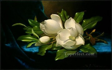 Giant Magnolias on a Blue Velvet Cloth Romantic flower Martin Johnson Heade Oil Paintings