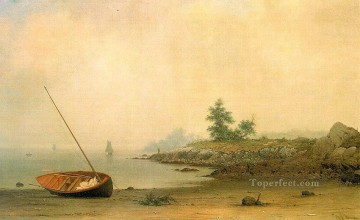 boat art painting - The Stranded Boat Romantic Martin Johnson Heade