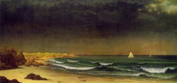 storm Works - Approaching Storm Beach Near Newport ATC seascape Martin Johnson Heade