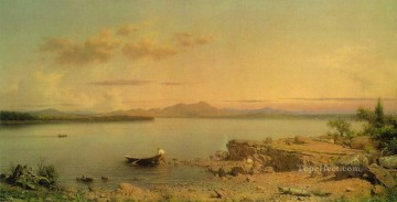 Lake Oil Painting - Lake George ATC Romantic Martin Johnson Heade