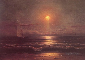 seascape Canvas - Sailing by Moonlight seascape Martin Johnson Heade