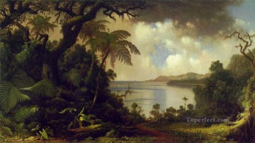 Tree Painting - View from Fern Tree Walk Jamaica ATC Romantic Martin Johnson Heade
