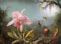 Cattelya Orchid and Three Brazilian Hummingbirds Romantic flower Martin Johnson Heade
