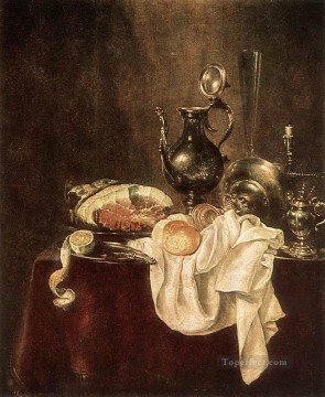Silver Canvas - Ham And Silverware still lifes Willem Claeszoon Heda
