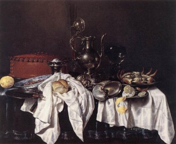Silver Painting - Still Life With Pie Silver Ewer And Crab Willem Claeszoon Heda