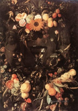baroque Painting - Fruit And Flower Still Life Dutch Baroque Jan Davidsz de Heem