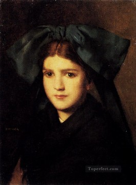 hat Oil Painting - A Portrait Of A Young Girl With A Box In Her Hat Jean Jacques Henner