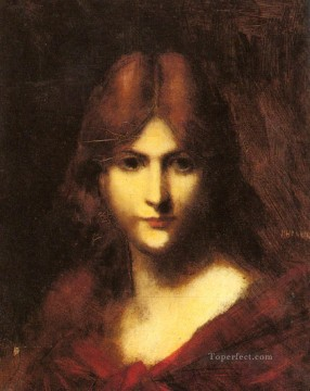 A Red haired Beauty Jean Jacques Henner Oil Paintings